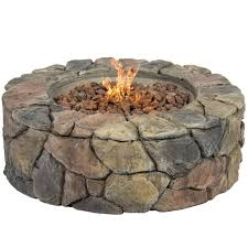 round stone design outdoor fireplace with fire pit and patio gas