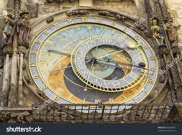 historical medieval astronomical clock old town stock photo