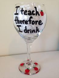 teacher wine glass i teach therefore i drink