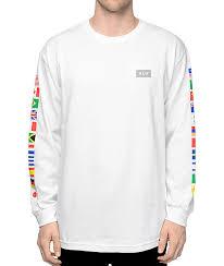 huf flags white sleeve t shirt zumiez