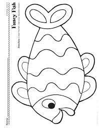 kids coloring pages fish cut paste coloring