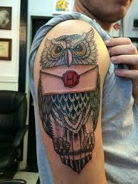 hogwarts owl done by earl cronkright at body armor tattoo