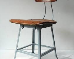 Metal Wood Chair Vintage Metal Stool Etsy