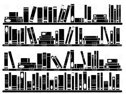 books on shelves silhouette of bookshelf vector image 34523