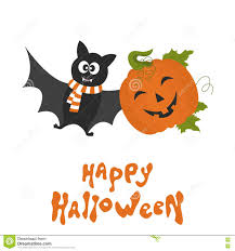 cute happy halloween images happy halloween card with cute cartoon pumpkin and bat stock