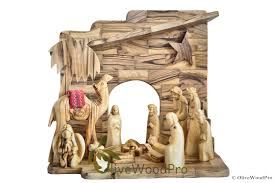 holy land gifts christmas nativity olive wood set holy family with stable from