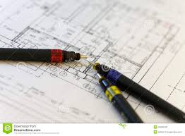 special pens for architect on an architect plan stock photo