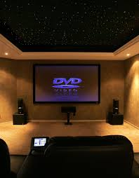 basement media room with black ceiling basement home office