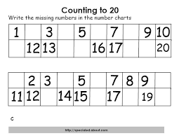 collection of solutions counting to 20 worksheets on sheets