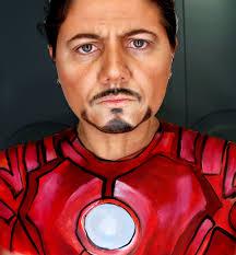 Tony Stark Tony Stark Iron Man Face Makeup U0026 Body Paint Youtube