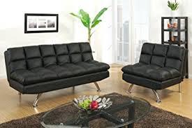 Futon Sofa Bed Amazon Amazon Com 2 Pc Black Faux Leather Tufted Upholstered Futon Sofa