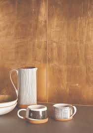 Copper Kitchen Backsplash by Metallic Copper Leaf Glass Tiles Are Made By Applying Copper Leaf