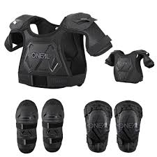 kids motocross gear combo neck brace chest protector knee guard and elbow guard package