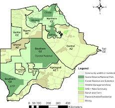 Botswana Map Relative Availability Of Natural Prey Versus Livestock Predicts