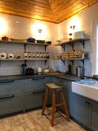 the dirty kitchen or scullery at the modern farm house fresh