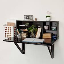 black wood wall mounted fold up desk with stationery shelves and
