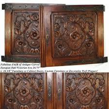carved cabinet door panels pair antique victorian 22 carved architectural furniture door