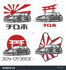 honda jdm logo old japanese car logo emblems badges stock vector 730498783