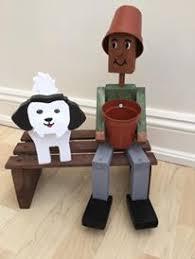 wooden garden flower pot on bench with shih tzu new