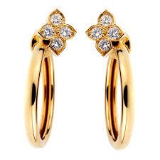 hoop diamond earrings cartier flower hoop diamond gold earrings opulentjewelers