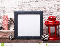 blank frame craft style christmas decor and red lantern stock