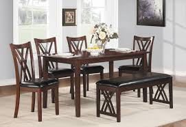 casual dining room set with leather bench and 4 high back chairs