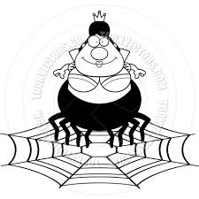 cartoon spider queen web black and white line art by cory thoman