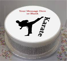 karate cake topper personalised karate silhouette fondant icing cake topper