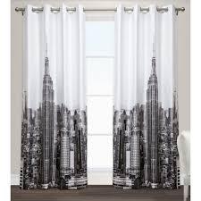 Manhattan Curtains Manhattan Black White Grommet Top Window Curtain Eh7964 01 2 96g