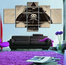 new 5 piece canvas art cars skulls death proof decorations for