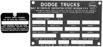 vsn information u002761 u002771 dodge truck website
