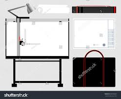 Drafting Table Set Set Isolated Architect Tools Drafting Table Stock Vector 695983057