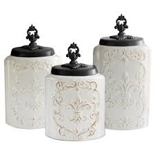 fleur de lis kitchen canisters one allium way fleur de lis 3 kitchen canister set reviews