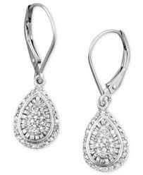 tear drop earrings diamond teardrop earrings in 14k white gold 1 2 ct t w