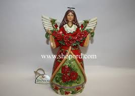 Jim Shore Dated Christmas Ornaments by Jim Shore Christmas Beauty Red Green Angel With Poinsettia