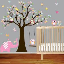 nursery wall stickers colorful tree owl wall decal elephant via nursery wall stickers colorful tree owl wall decal elephant via etsy
