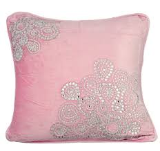 crystal fun 16 x 16 crystal embroidered pink velvet pillow