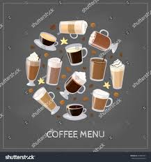 espresso macchiato different coffee types including espresso macchiato stock vector