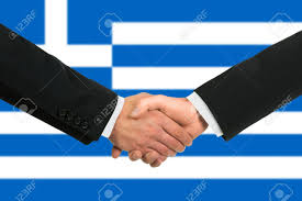 Greek Canadian Flag The Greek Flag And Business Handshake Stock Photo Picture And