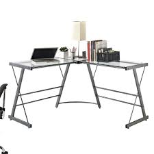 L Shaped Contemporary Desk by Monarch Black Metal L Shaped Computer Desk With Tempered Glass