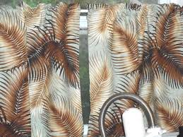 pair tropical hawaiian barkcloth 100 cotton fabric cafe u0027 curtains