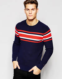 hilfiger sweater mens lyst hilfiger jumper with chest stripe in blue for