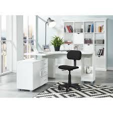 bureau angle ordinateur saga bureau d angle contemporain blanc mat l 140 cm achat