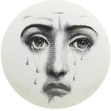 theme variations decorative plate 77 crying face fornasetti