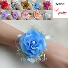 homecoming corsage artificial silk wrist flower corsage for wedding homecoming