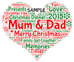 personalised christmas mum dad mummy heart wordart print gift