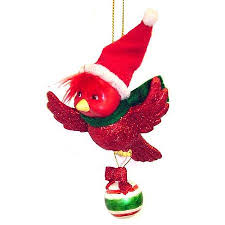 buy glitter cardinal flying bird with ornament