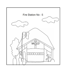 fire station coloring printable page for kids