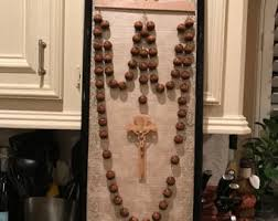 wall rosary large wall rosary with hanger wood color