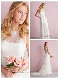 illusion neckline wedding dress simple slim a line sheer illusion neckline wedding dresses